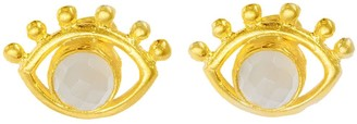 Ottoman Hands Esana Beaded Eye Stud Earrings With White Chalcedony