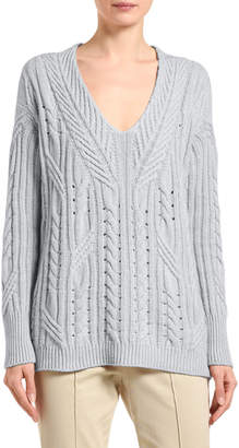 Agnona Cashmere-Linen Scoop-Neck Sweater
