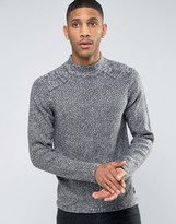 ONLY & SONS Jumper With High Neck In Mixed Yarn With Seam Detail