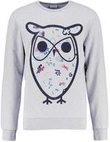 Knowledge Cotton Apparel Big Concept Owl Sweatshirt Grey Melange