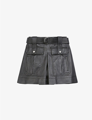 The Kooples High-rise belted leather skirt