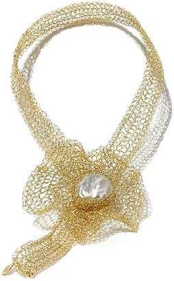 Carolina Wong Flora 14K Gold-filled Freshwater Baroque Pearl Choker With Detachable Brooch