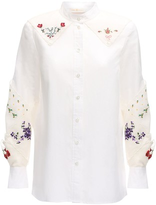Tory Burch Embroidered Poplin Shirt