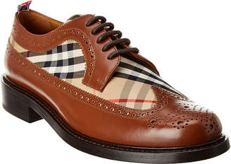 Burberry Brogue Detail Leather Vintage Check Derby Shoe