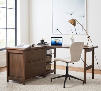 Pottery Barn Bloomquist L-Shape Desk with Lateral File Cabinet