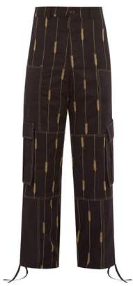 Jacquemus Wheat-embroidered Straight-leg Twill Trousers - Mens - Black