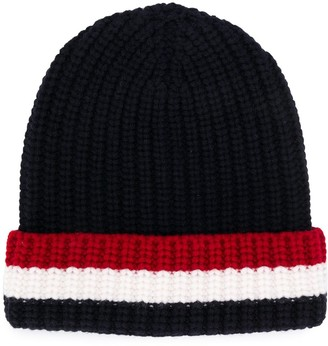 Thom Browne Striped Trim Knitted Beanie