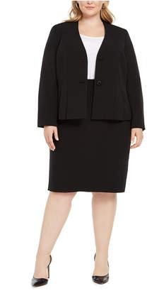 Le Suit Plus Size Jeweled-Button Skirt Suit
