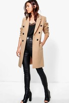 Boohoo Natalie Double Breasted Coat camel
