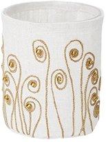 Lazy Susan 625042 White Linen Gold Stitched Fiddle Head Votive Small