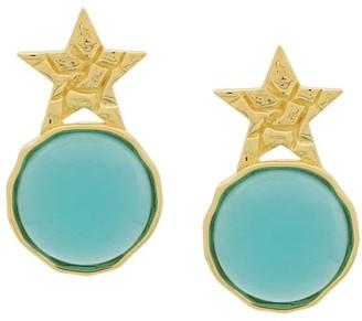 Eshvi Star Turquoise Glass Earrings
