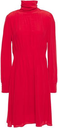 Valentino Pintucked Silk Crepe De Chine Mini Dress