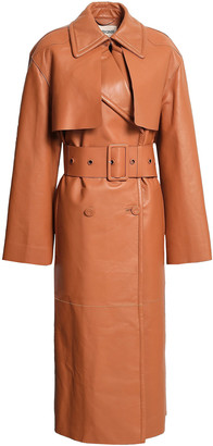 Roberto Cavalli Belted Fringed Leather Trench Coat