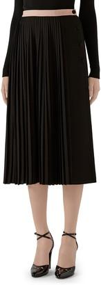 Gucci Logo Waist Pleated Wool Crepe Midi Skirt