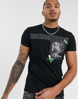 Religion text print t-shirt with iridescent strips patch in black