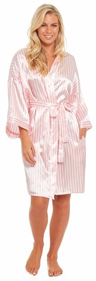 Slumber Hut Satin Kimono Candy Stripe Wedding Bridal Party Robe Dressing Gown Ladies Pink Silk-Feel Summer Size UK 20-22