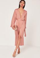 Missguided Silky Kimono Maxi Dress Pink