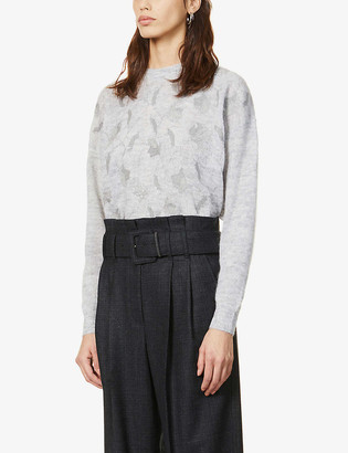 Brunello Cucinelli Sequin-embroidered printed knitted jumper