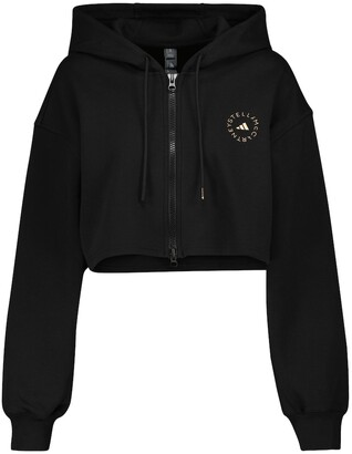 adidas by Stella McCartney Cotton-blend cropped hoodie