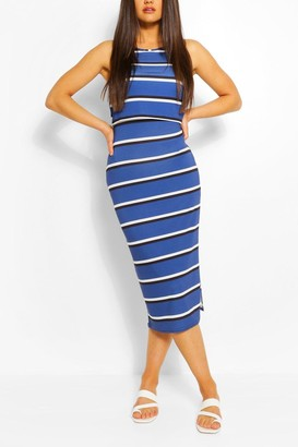 boohoo Striped High Neck Double Layered Maxi Dress