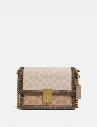 Coach Hutton Shoulder Bag In Blocked Signature Canvas With Snakeskin Detail