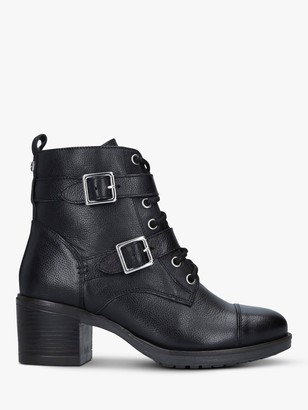Carvela Stacey Leather Buckle Strap Ankle Boots, Black