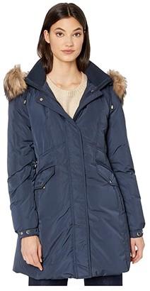 Kate Spade Faux Fur Collar Parka (English Navy) Women's Clothing