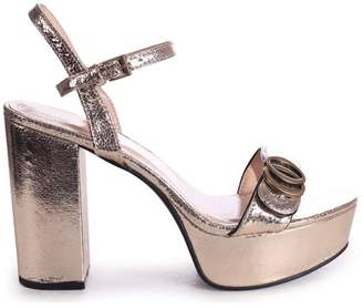 Linzi FAYE - Gold Metallic Platform With Scallop Front Strap & Gold Buckle