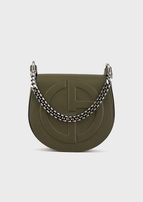 Giorgio Armani Leather Round Crossbody Bag With Raised Ga Logo