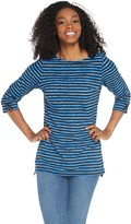 Denim & Co. Active Striped French Terry Boat Neck 3/4 Sleeve Tunic