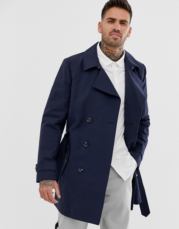 Mens Navy Double Breasted Trench Coat ShopStyle