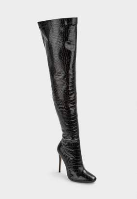 Missguided Black Mock Croc Tubular Heeled Over The Knee Boots