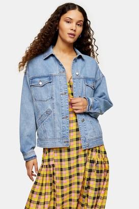 Topshop Womens Considered Oversized Denim Jacket - Mid Stone