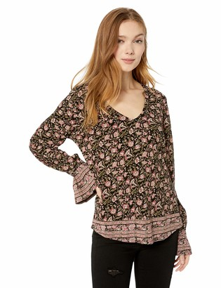 Lucky Brand Women's Border Print Cinched Sleeve Peasant TOP