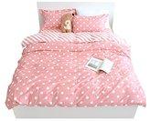 YOUSA Polka Dot Bedding Set Pink Duvet Cover Set Girls Bedding Full