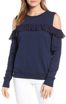Halogen Ruffle Cold Shoulder Sweatshirt (Regular & Petite)