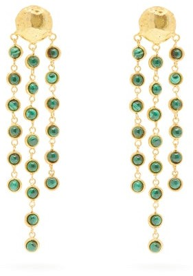 Sylvia Toledano - Malachite Waterfall-drop Clip Earrings - Womens - Green