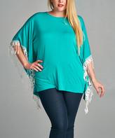 Simply Boho La Simply Boho LA Women's Blouses turquoise - Turquoise Lace & Fringe-Trim Cape-Sleeve Top - Women