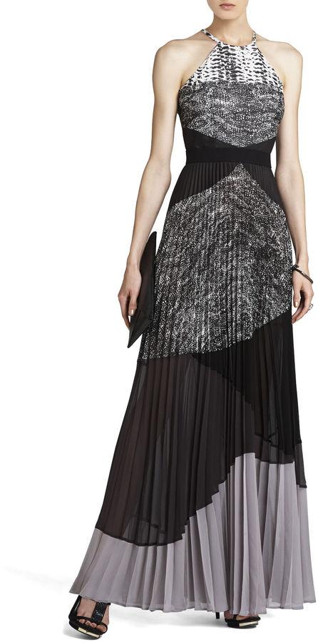 BCBGMAXAZRIA Clarissa Pleated Halter Dress