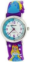 Ravel Time Teacher Girls 3D Ice Princess Purple Strap Watch + Telling Time Award
