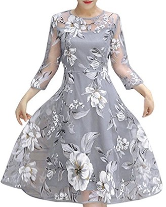 DEELIN Fashion Women's Summer Organza Floral Print Mesh Sexy Wedding Party Ball Prom Gown Cocktail Dress(Gray M)