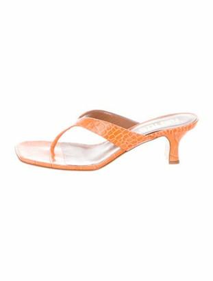 Paris Texas Embossed Leather Sandals Orange