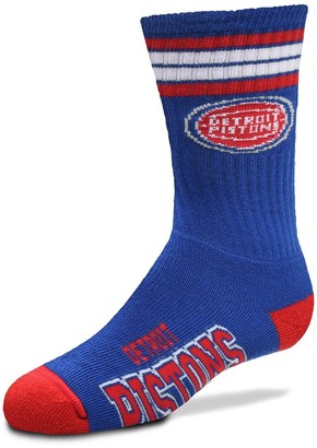 Youth For Bare Feet Detroit Pistons 4-Stripe Deuce Quarter-Length Socks