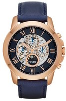 Fossil 'Grant' Automatic Leather Strap Watch, 44mm