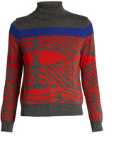 Kolor Zebra-intarsia wool sweater