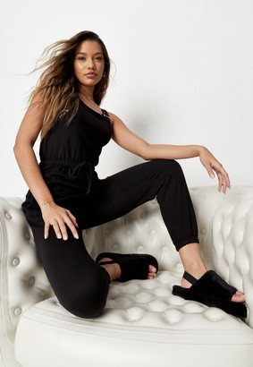 Missguided Black Dungarees Jersey Jogger Cuff Jumpsuit