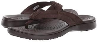 Crocs Santa Cruz Leather Flip (Espresso/Espresso) Men's Sandals