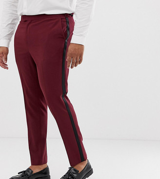 ASOS DESIGN Plus skinny tuxedo prom suit pants in plum