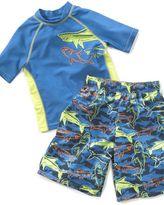 Little Boy Shark Rash Guard Shirt and Swim Trunks