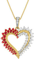 Fine Jewelry Womens Lab Created Red Ruby 14K Gold Over Silver Heart Pendant Necklace